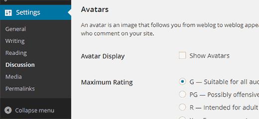 Bỏ chọn Show Avatars để tắt gravatar trong WordPress