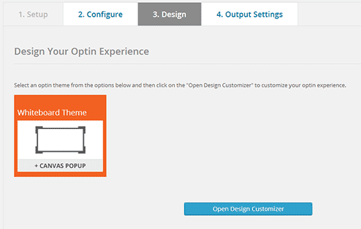 Choose your optin theme and then open design customizer