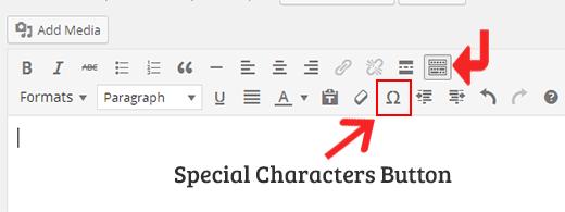 Nút ký tự đặc biệt trong trình chỉnh sửa trực quan WordPress