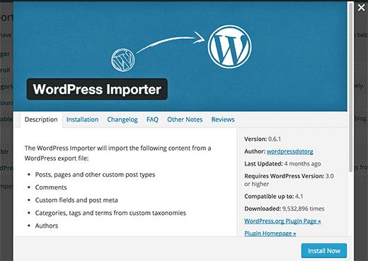 Installing WordPress importer plugin