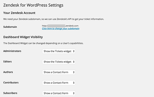 Zendesk for WordPress plugin settings