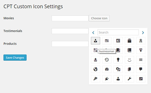 Adding a custom post type icon