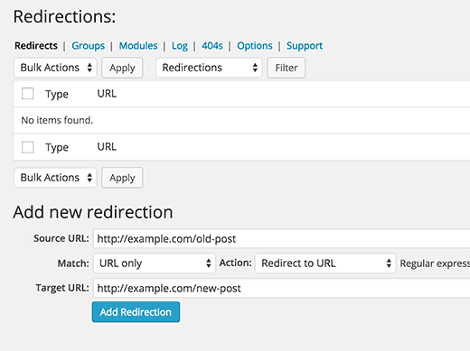Setting up WordPress redirects using Redirection plugin