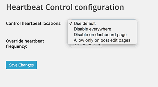 Settings page for heartbeat control plugin
