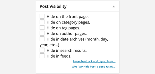 Select post visibility options