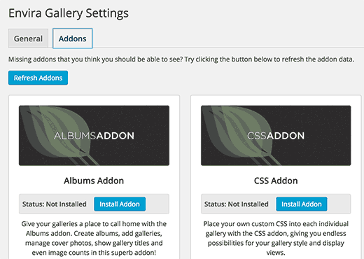 Installing Albums and Standalone addons