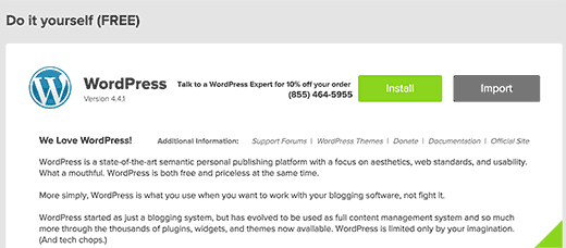 Commencer l'installation de WordPress en utilisant MOJO Marketplace