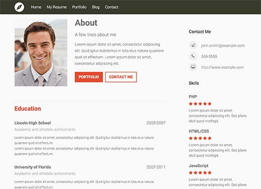 A beautiful professional resume created with WordPress