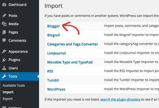 Blogger importer under WordPress import tools