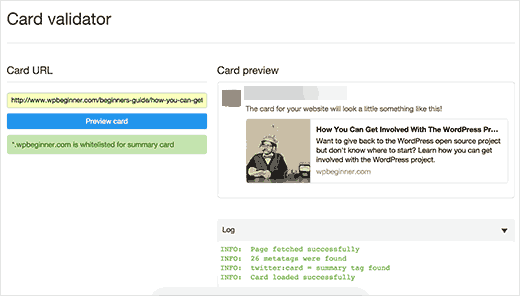 Testing Twitter Cards preview with Cards Validator