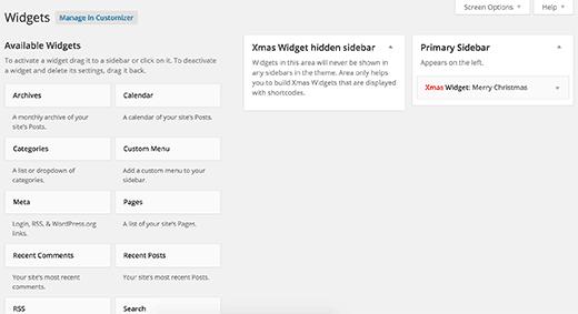 Widgets page after installing Xmas Widget