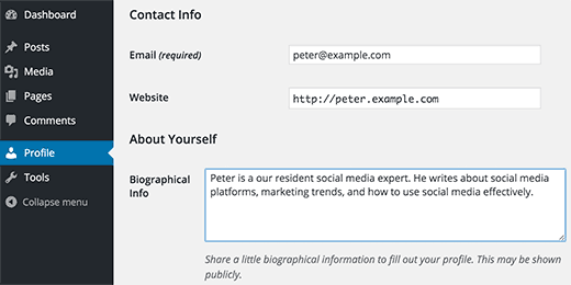 User editing their own profile in WordPress