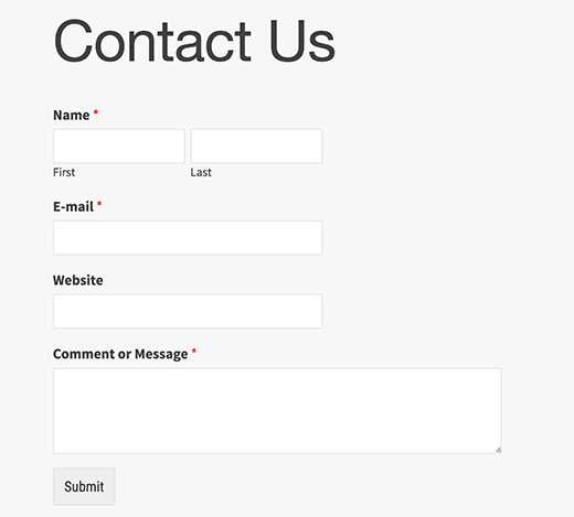Preview of a contact form in WordPress