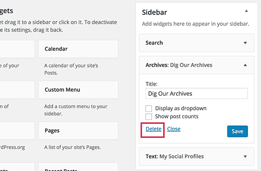 Removing a widget by deleting it from your WordPress sidebar