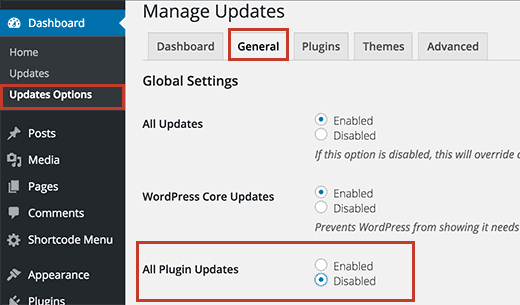 Disable all plugin updates in WordPress