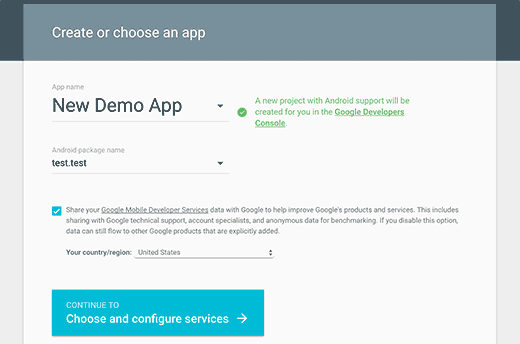 Creating Google services app