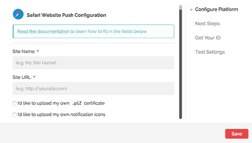 Safari web push notification settings