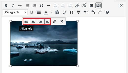 Căn chỉnh hình ảnh bằng cách sử dụng các nút trong thanh công cụ hình ảnh
