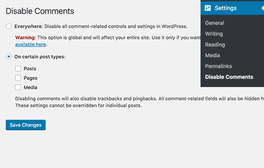 Settings page for Disable Comments plugin