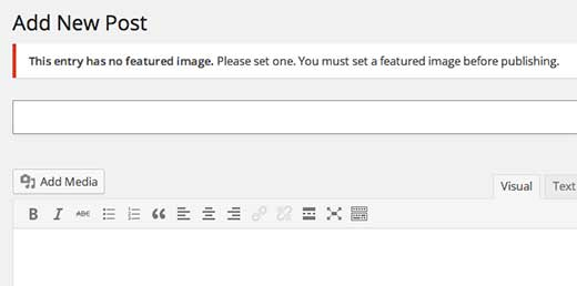 Require featured image in WordPress