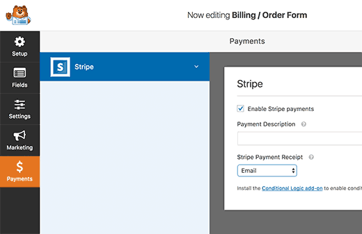 Adding payment form settings