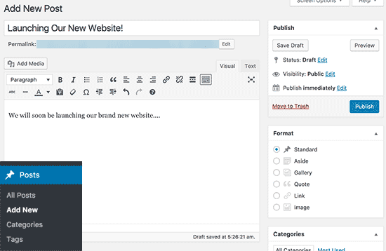 Adding a new post in WordPress