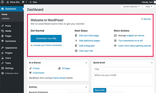 Welcome panel in WordPress admin dashboard