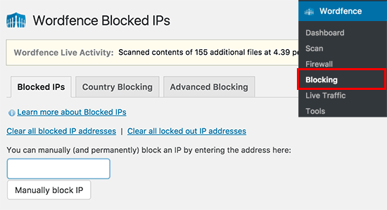 Manually block IPs in Wordfence