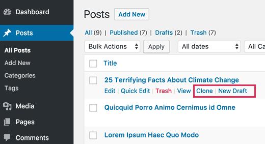 Cone or draft a WordPress post