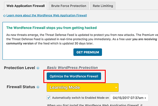 Optimize Wordfence firewall