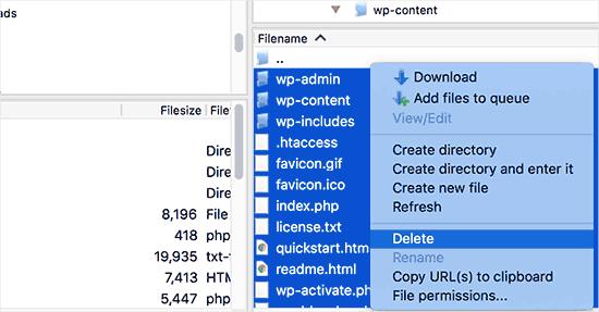Xóa các tệp WordPress cũ