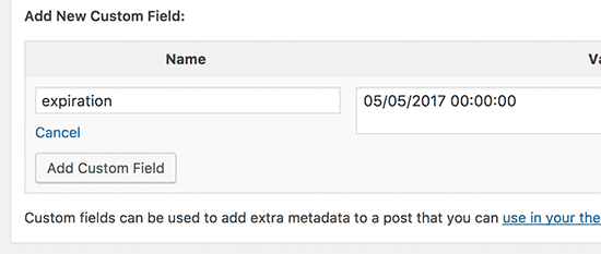 Adding an expiration custom field to a WordPress post