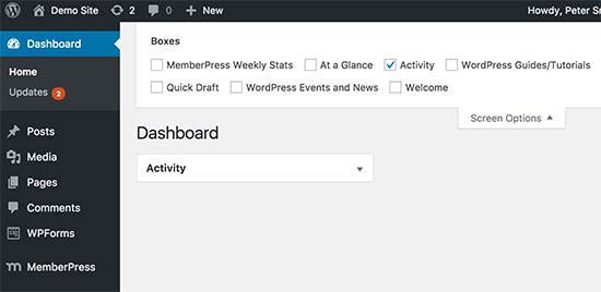 Cleaning up dashbaord screen in WordPress