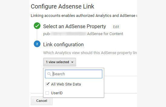 Adsense link setup