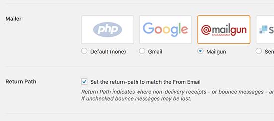 Select Mailgun as your mailer
