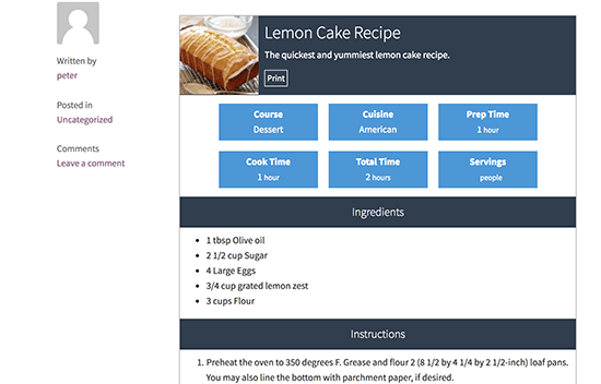Preview of a recipe in WordPress