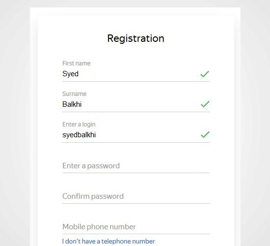 Register Yandex
