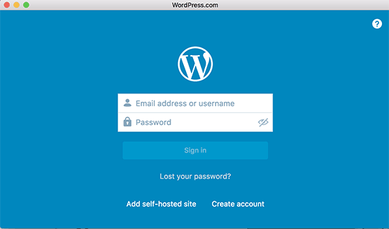 WordPress app login screen