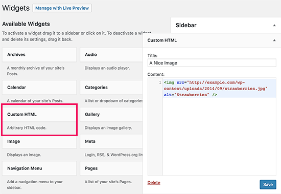 Manually add image to WordPress sidebar widget