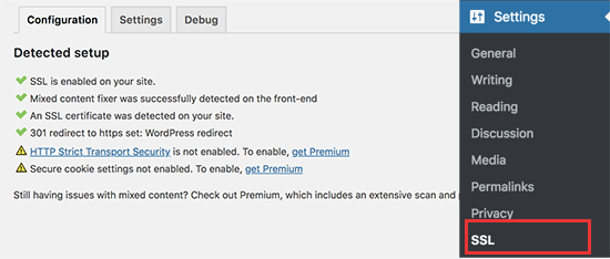 SSL enabled in WordPress