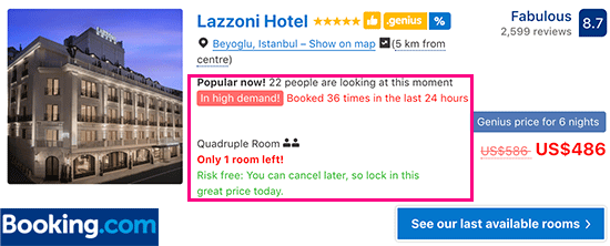 Booking.com using scarcity and urgency