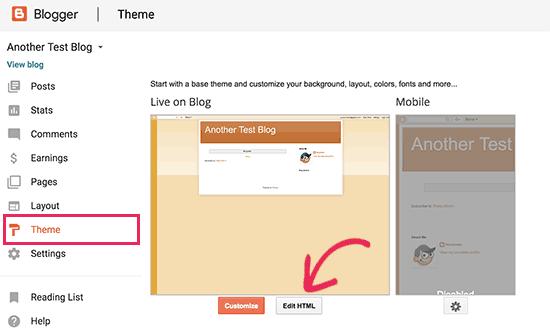 Edit tema Blogger