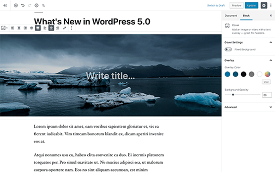 New block-based editor in WordPress 5.0