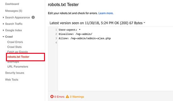 Robots.txt tester tool