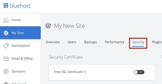 Bluehost free SSL
