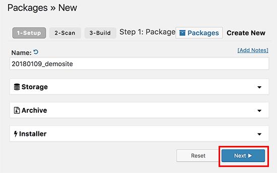 Duplicator create a package wizard