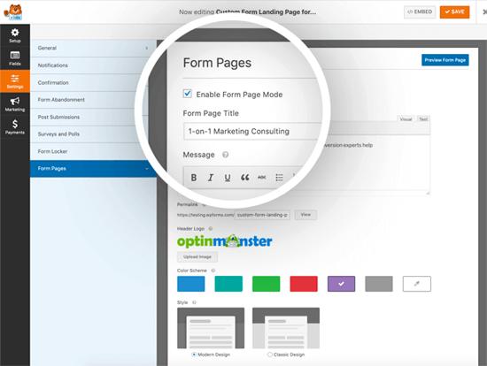 Страницы форм от WPForms