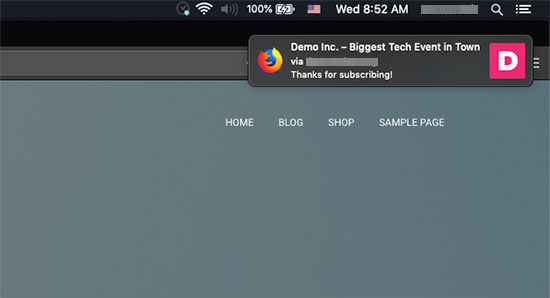Welcome notification displayed on Mac via Firefox