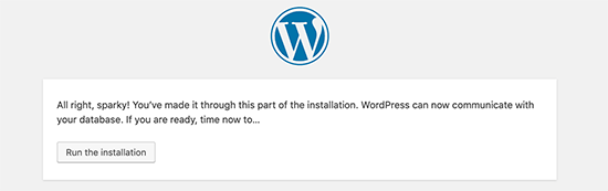 WordPress can now connect to your database