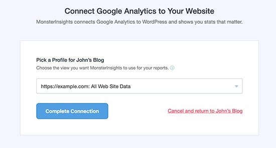 Seleziona il profilo del tuo sito web per competere nella configurazione